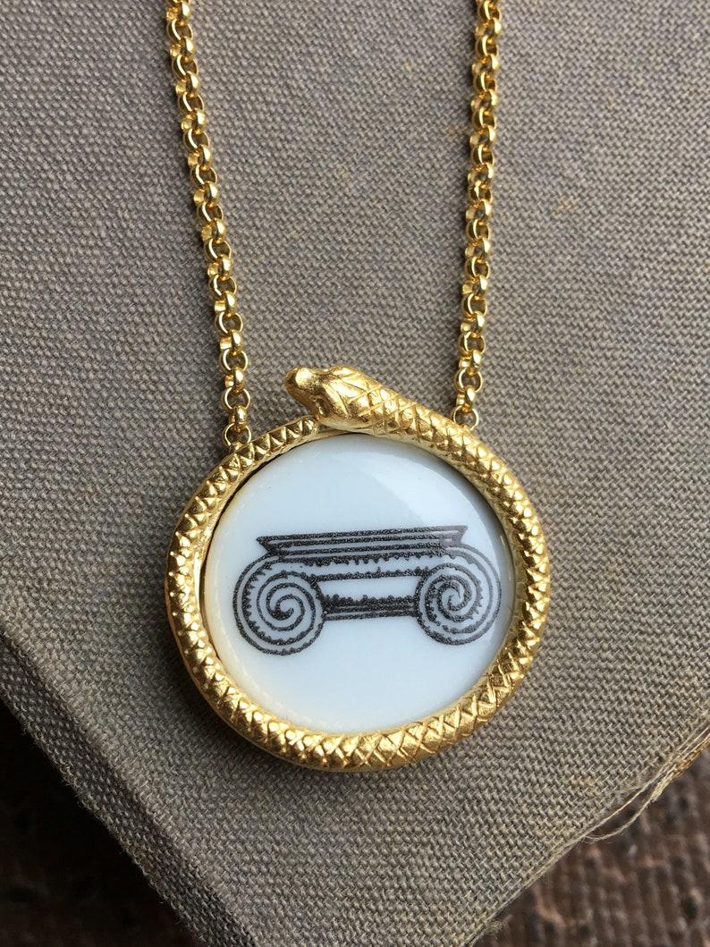 Ouroboros Necklace with Fornasetti medallion