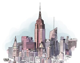 New York cityscape - Illustration Print