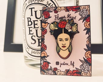Flower Head Brooch / Frida Kahlo inspired soft enamel Pin