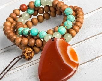 Sandalwood Necklace, Yoga Necklace, Healing Necklace, Boho Necklace, Japa Mala, Hippie Necklace, Meditation Mala