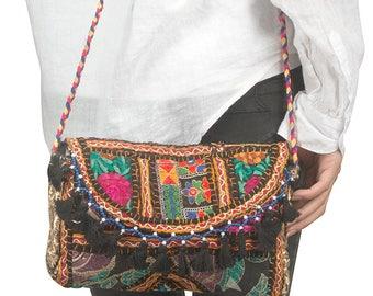 Satchel Bag, Small Black Purse, Crossbody Bag, Small Shoulder Bag, Hippie Bag, Boho Bag, Embroidered Bag