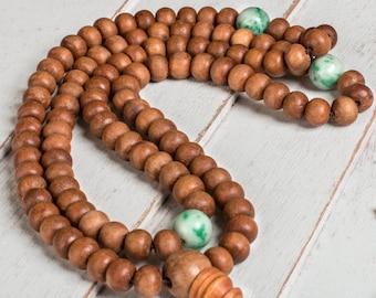 Sandalwood Buddhist Prayer Beads - Healing Mala Beads, Buddhist Rossry, Wood Wooden Mala Beads, Mala Necklace, Meditation 108 Mala Beads