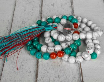 Meditation Mala Necklace, White Howlite Mala Beads, Turquoise Mala, Buddhist Prayer Beads, Tassel Necklace