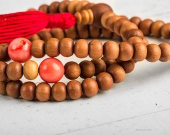 Japa Mala Sandalwood, Yoga Mala Necklace, Tibetan Mala, Meditation Beads, Sandalwood 108 Mala Necklace Tassel