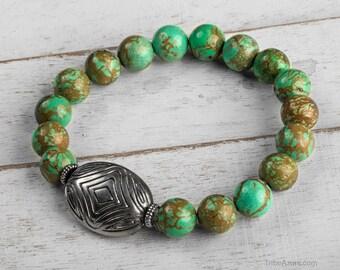 Turquoise Mala Bracelet - Gemstone Bracelet, Healing Stone Bracelet, Prayer Beads Bracelet, Turquoise Bracelet