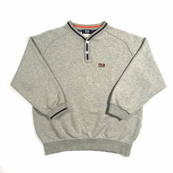 Vintage Fila Sweatshirt Fila Crewneck Button Sweat