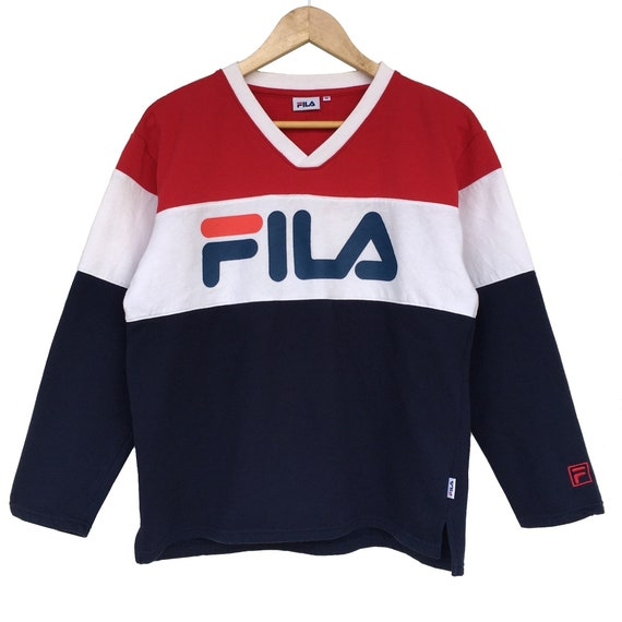 Y2K Vintage Fila Sweatshirt Fila V-Neck Sweater Pu