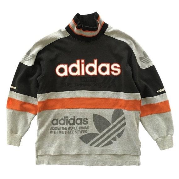 Vintage ADIDAS Hoodie Big Logos Trefoil Sweatshirt Pullover 3 Stripes Adidas Jumper Shirt Jacket Minimal XS small