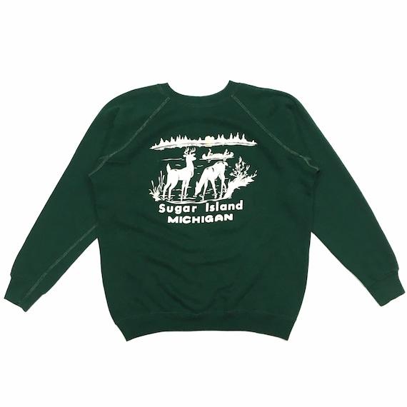 70s Vintage Sugar Island Michigan Sweatshirt Ragla
