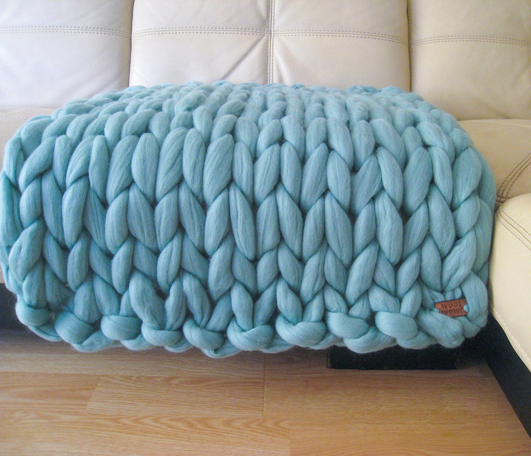 ef35ea015 Super Chunky Baby Blanket. Giant Knitted Merino Wool Throw.