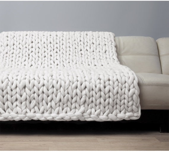 Super Chunky Blanket Giant Knitted Merino Wool Throw Big