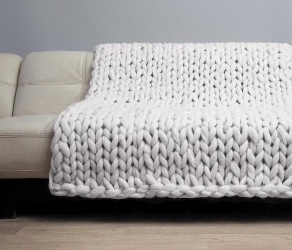 Merino Wol Deken.Chunky Gebreide Deken Merino Wollen Deken Omvangrijk Deken Extreme Door Woolwow Breien De Kleur Van De Melk