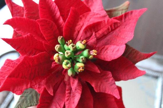 Christmas Flower Decorations.Handmade Edible Sugar Poinsettia Christmas Flower Xmas Flower Cake Topper Cake Decorations