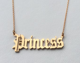 Personalised Old English Font Name Necklace-18K Gold Plated 925 Sterling Silver-Choose any name-Birthday,Bridesmaids,Valentines Day gift