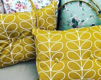 A pair of handmade  Orla Kiely seat pads in a choice of fabric