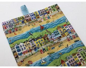 Beach huts fabric grocery bag holder