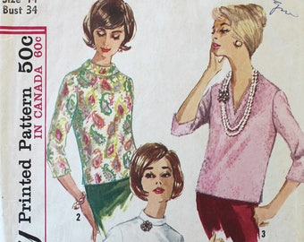 1960s Vintage Blouse Sewing Pattern - Simplicity 5111 - Bust 34