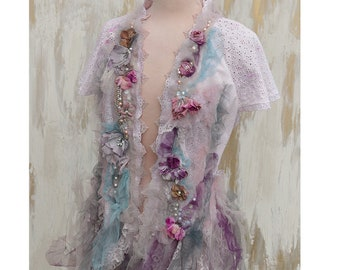 Rose Petals ...... Flutter Sleeve Summer Layering Blouse Romantic Boho Style
