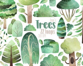 3bccd62a4 Watercolor Trees Clipart - Tree Download - Instant Download - Pine Trees -  Weeping Willow - Birch - Shrubbery - Bush - Leaf - Commercial Use