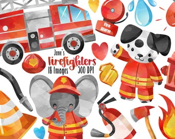 ed0c3dc6bb9 Watercolor Firefighters Clipart - Fire Truck Download - Instant Download -  Firemen - Animals - Fire Extinquisher - Commercial Use