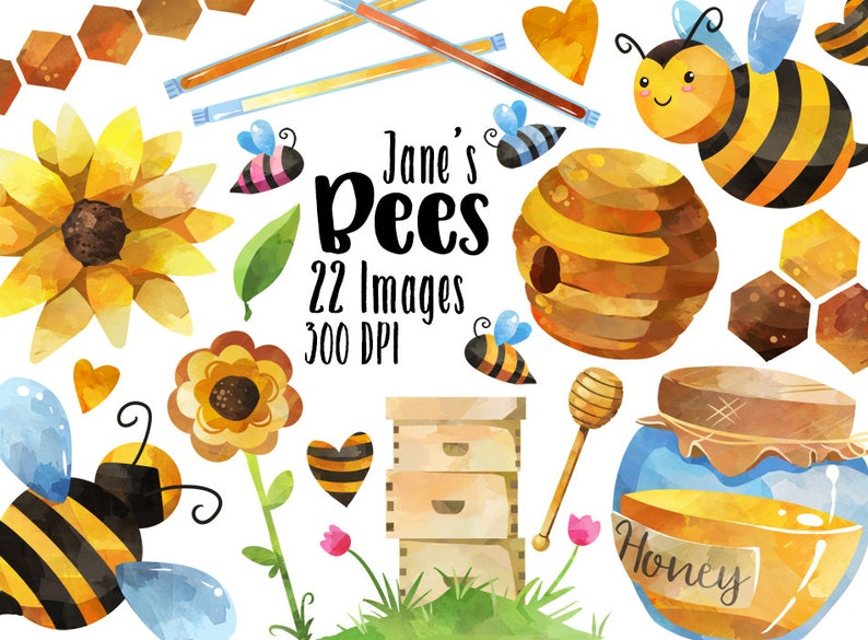 Watercolor Honey Bees Clipart  Bee Items Download  Instant image 0