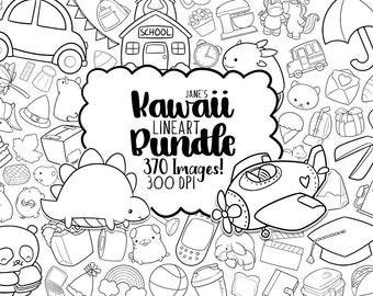 Digitalartsi Kawaii Stamps Clipart Bundle - Lineart Download - Instant Download - Clipart Discount Bundles - Doodle Illustrations Series