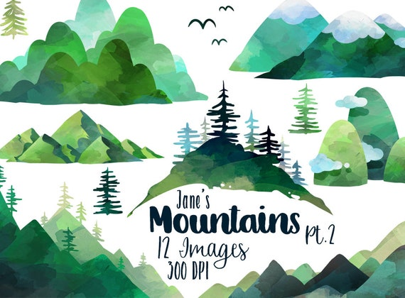 Watercolor Mountains Clipart Mountain Download Instant | Etsy