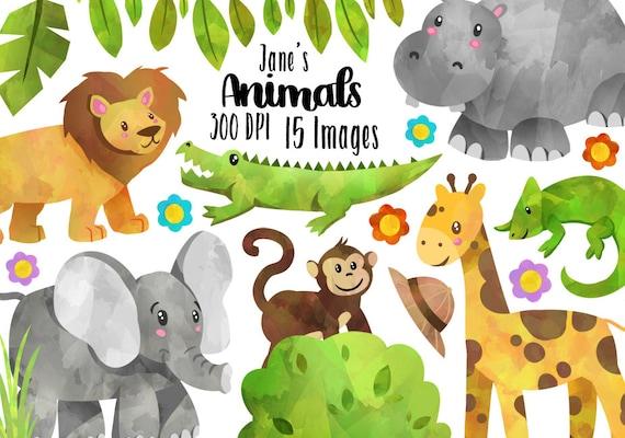 Watercolor Safari Animals Clipart Wild Animals Download | Etsy