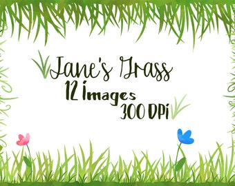 Watercolor Grass Clipart - Grass Borders Clipart - Instant Download - Seamless Watercolor Grass Patterns