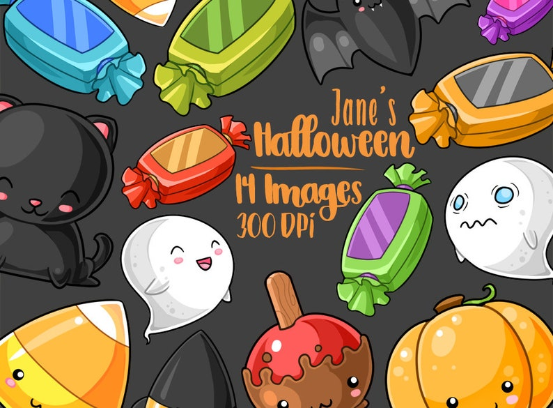 Kawaii Halloween Clipart Kawaii Design Download Witch Hat and more! Spooky Download Candy Corn Ghosts Bat