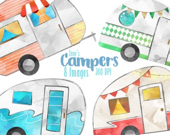 Watercolor Campers Clipart - Vintage Campers Download - Instant Download - Cute Campers - Camping - Trailers - American Culture