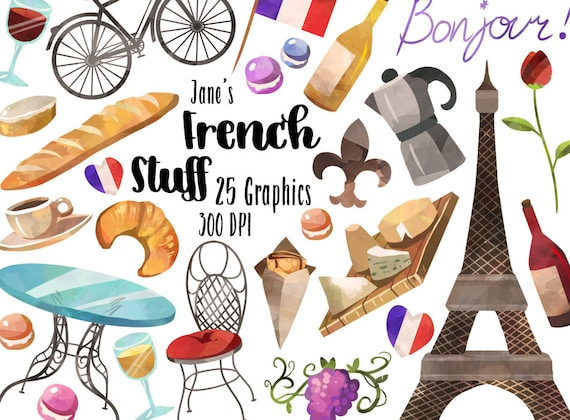 watercolor french clipart french items download instant download rh etsystudio com french clipart france clipart