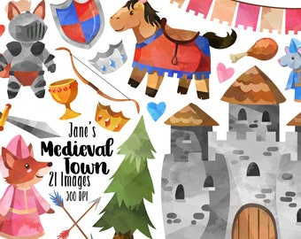 Watercolor Medieval Town Clipart - Watercolor Medieval Download - Instant Download - Fantasy - Knights - Castle - Princesses