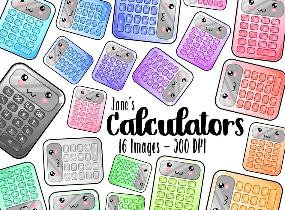 Kawaii Calculator Clipart Math Download Kawaii School | Etsy