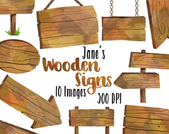 Watercolor Wooden Signs Clipart - Wooden Borders Download - Instant Download - Wooden Sign Posts, Arrows, and Hanging Signs