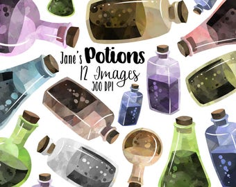 Watercolor Earthy Potions Clipart - Old Science ClipArt - Digital Download - Beakers Science Chemistry