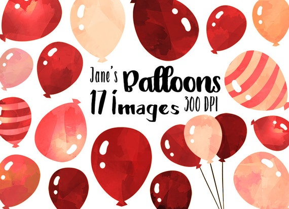 watercolor red balloons clipart watercolor balloons download etsy