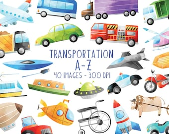 Watercolor Transportation A-Z Clipart - Vehicles Download - Instant Download - Airplane - Car - Boat - Helicopter - Rocket - Tractor