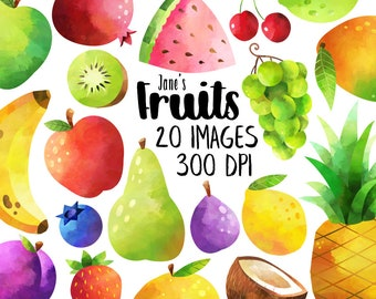 Watercolor Fruits Clipart - Produce Download - Instant Download - Orange - Apple - Strawberry - Blueberry - Plum - Fig - Banana