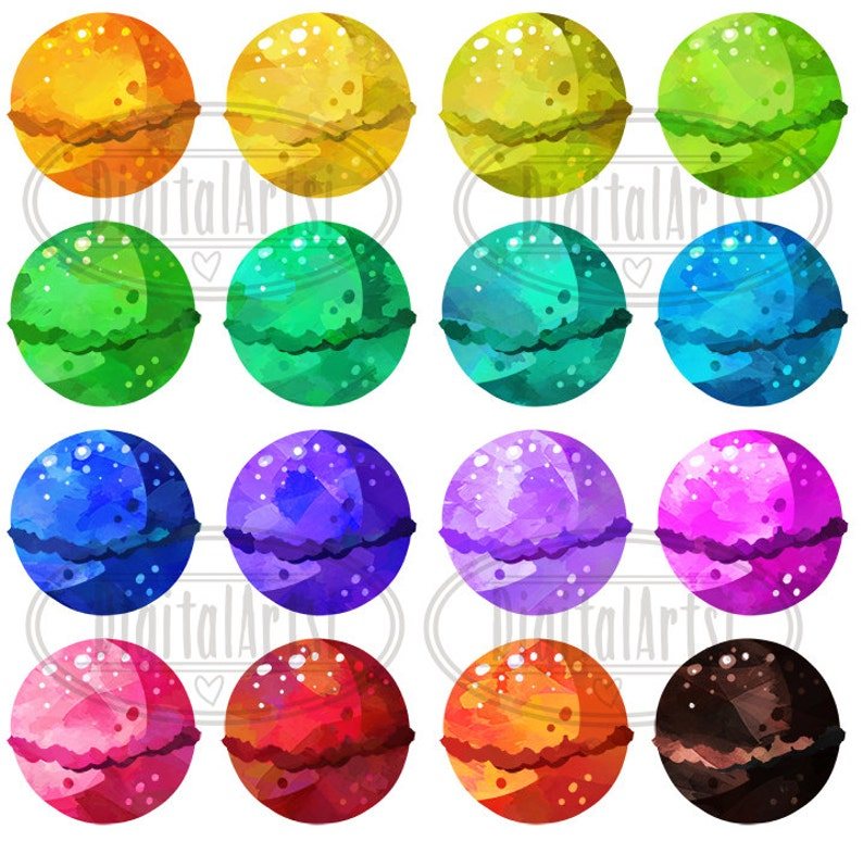 Instant Download Faux Watercolor Bath Bombs Watercolor Bath Bombs Clipart Grooming Pampering Download