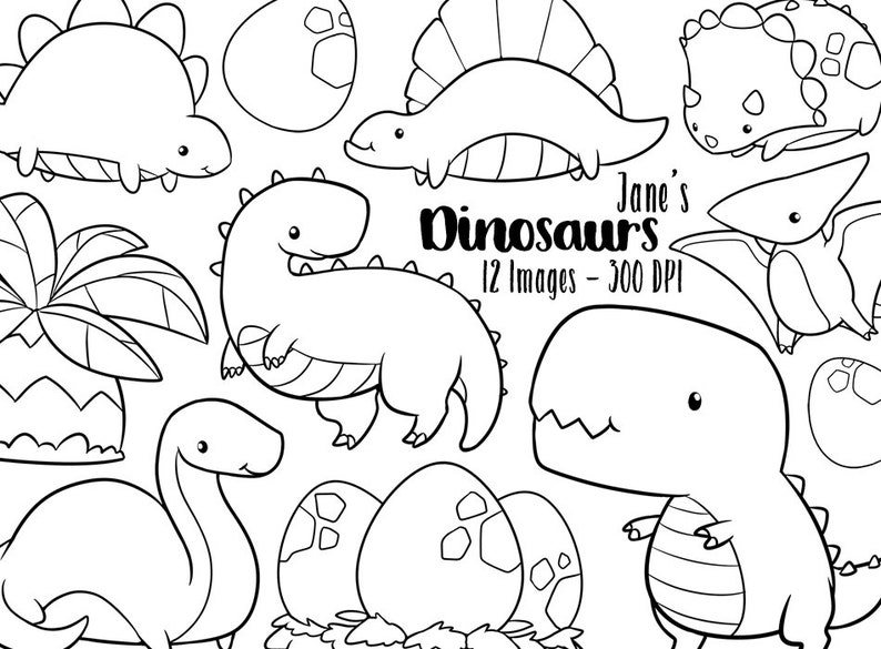 Kawaii Dinosaur Stamps Clipart Cute Dinosaurs Download