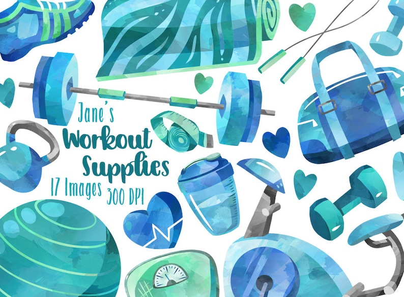 984c5dc757 Watercolor Workout Supplies Clipart Healthy Living Download