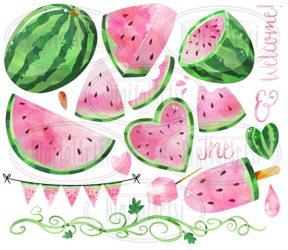 Watercolor Pink Watermelon Clipart Watermelon Picnic Etsy