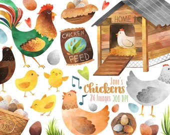 Watercolor Chickens Clipart - Chicken Download - Instant Download - Farm Animals Clipart - Rooster - Hen - Eggs - Coop - Chicks - Nest
