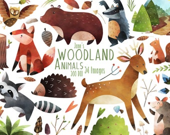 Woodland Animals Clipart - Watercolor Forest Animals Clipart - Instant Download - Bear - Fox Clipart - Deer - Squirrel - Badger - Hedgehog