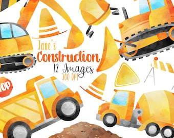 Watercolor Construction Clipart - Contruction Vehicles Download - Instant Download - Bulldozer - Cement Truck - Excavator - Dump Truck