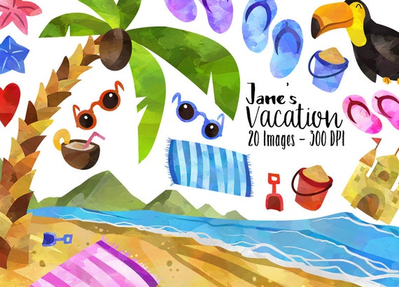 Watercolor Tropical Vacation Clipart Beach Items Download ...