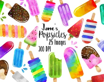 Watercolor Popsicles Clipart - Dessert Download - Instant Download - Summer Treats - Ice Cream