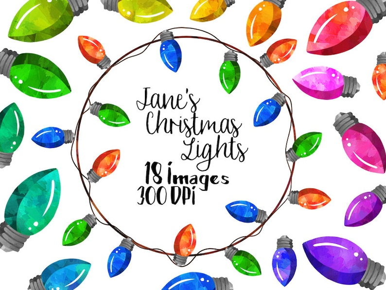 Watercolor Christmas Lights Clipart - Noel Items Download - Instant  Download - Faux Watercolor Christmas assets