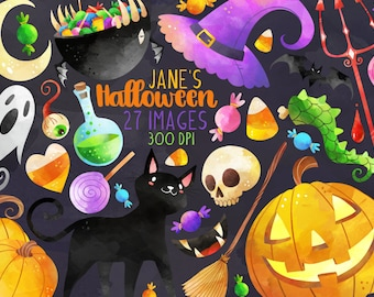 Watercolor Halloween Clipart - Halloween Items Download - Instant Download - Black Cat - Jack-o-Lantern - Witch - Commercial Use